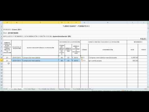 tutorial del llenado libro diario formato 5 1 youtube