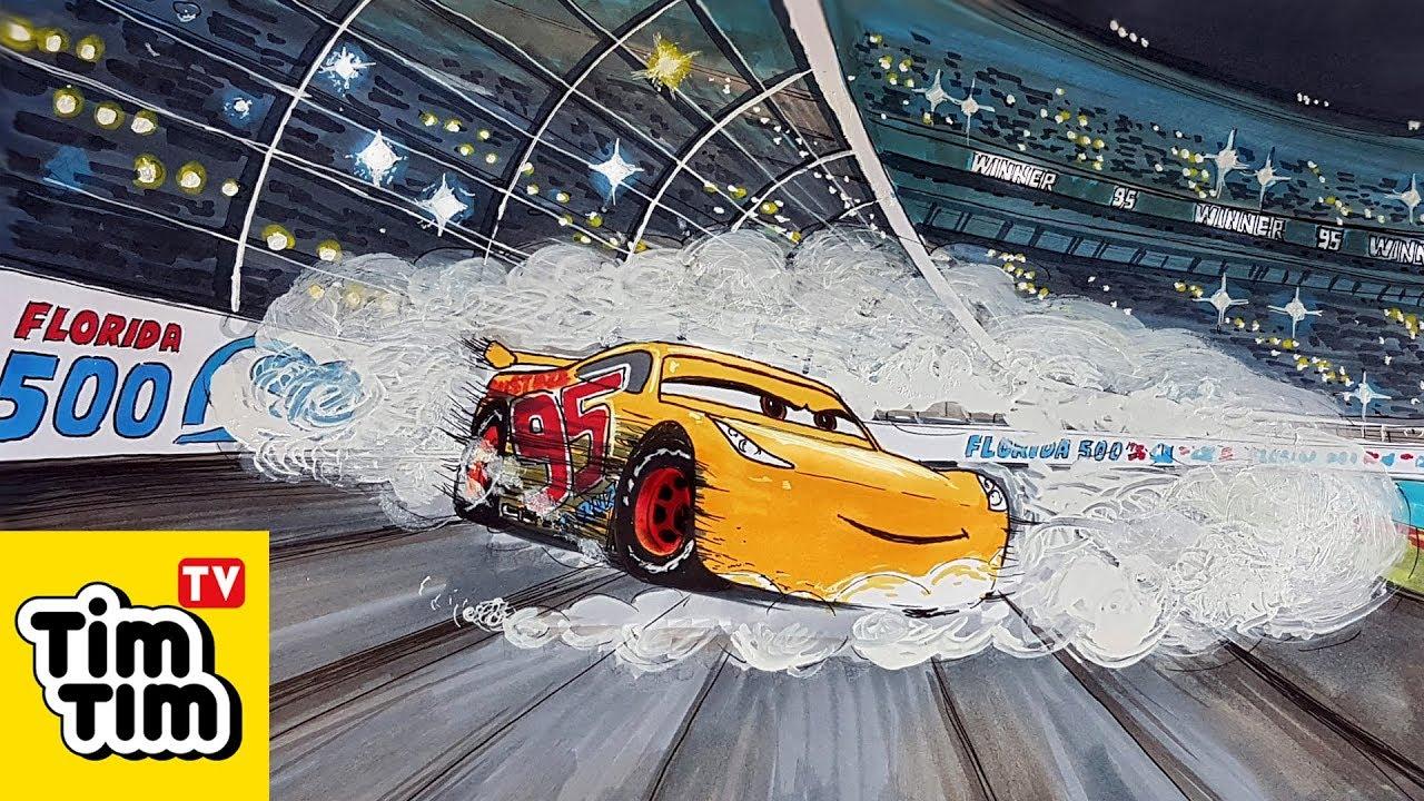 How to draw CARS 3 CRUZ RAMIREZ drifting burn outs donut ...