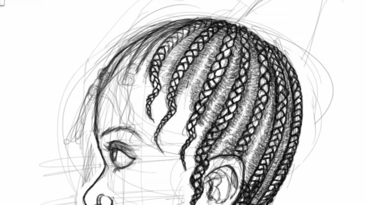 How To Draw Braids ( Yoruba Hairstyle Koroba Aka Basket )