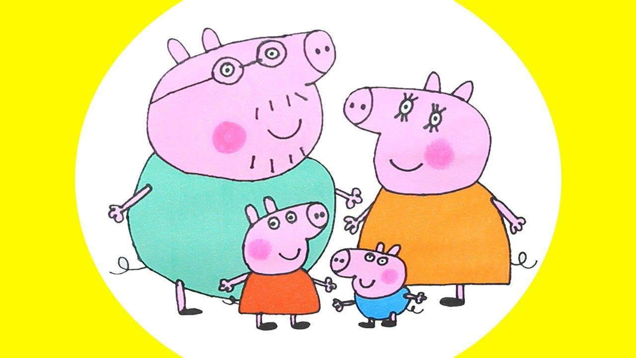 Peppa Pig George Pig ❤ Papai e Mamãe Pig, desenhando desenhos animados para crianças em português.