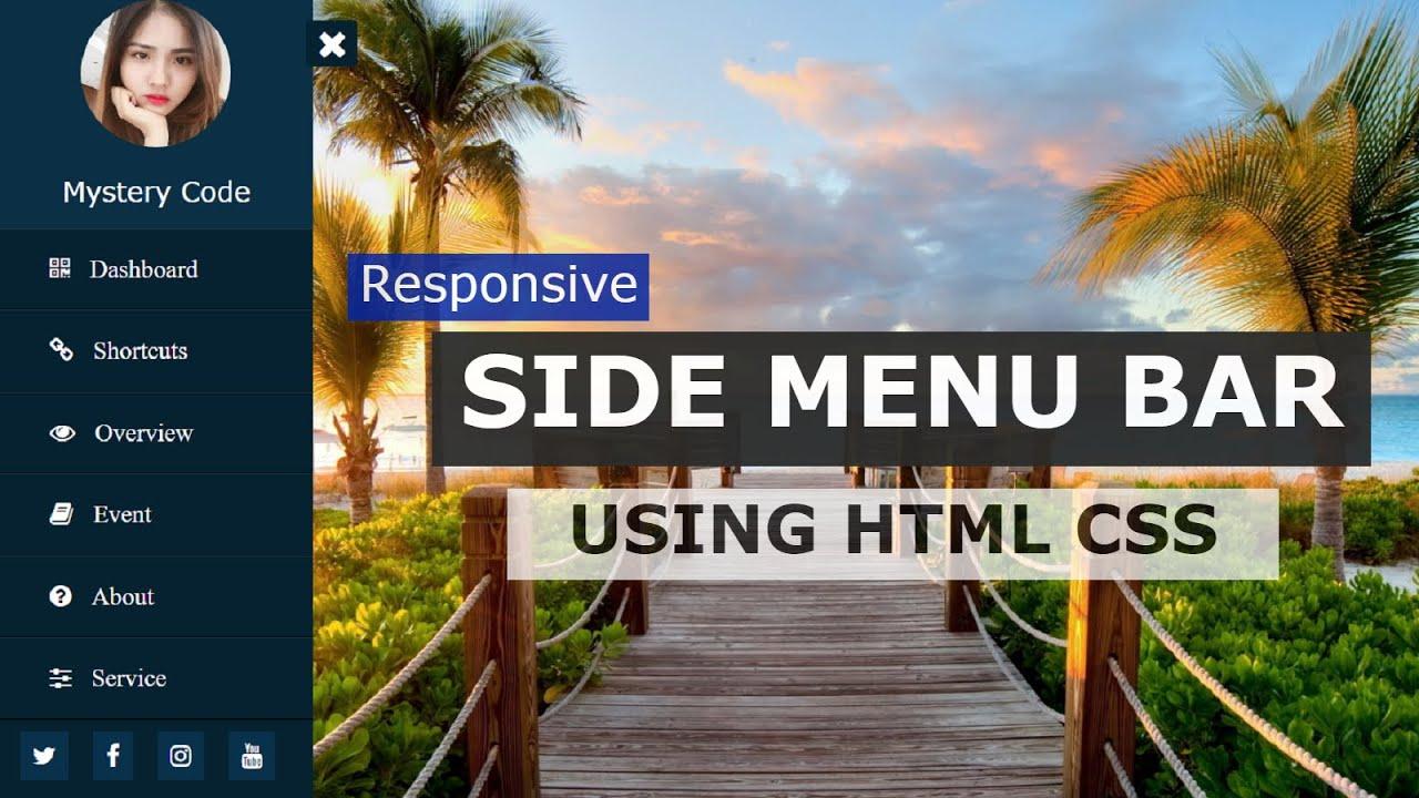 Sidebar Menu Using Only HTML and CSS | Side Navigation Bar