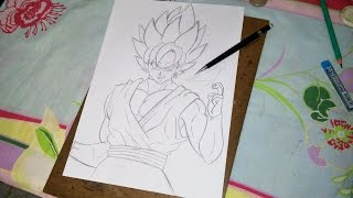 How to Draw Goku Black SSJ Rose - Como desenhar Goku Black SSJ Rosa (Sketch/Esboço) Part. 1
