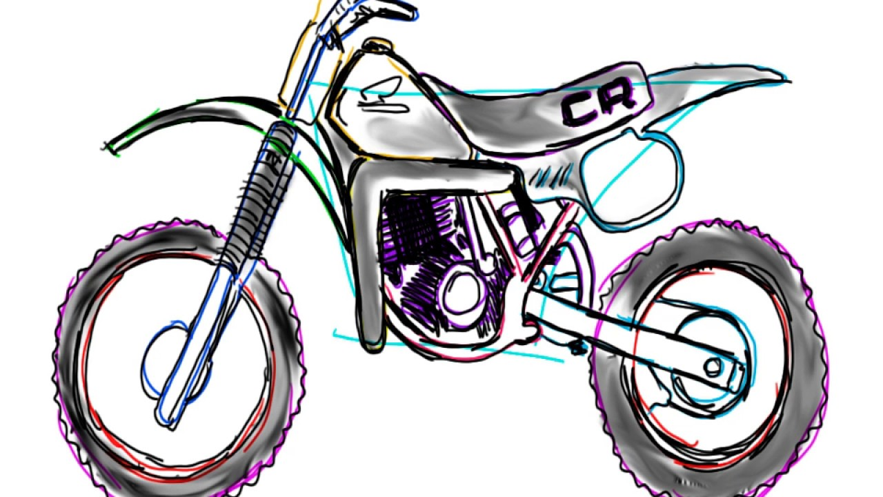 how to draw a dirt bike 1983 HondaCR480R - YouTube