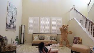 GIANT TEDDY BEAR SCARE PRANK ON SISTER!!!