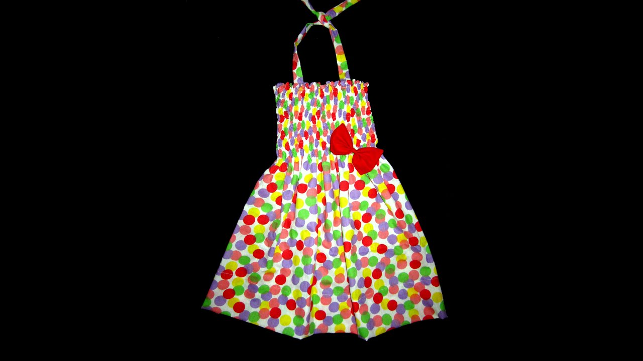 HOW TO MAKE POLKA DOTS SHIRRED BABY FROCK IN EASY WAY DRESS 7