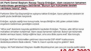 Yil 2002.. Erdoğan: İdam kalksın│Yil 2011.. : Erdoğan: 2002'de Öcalan'ı asardım !