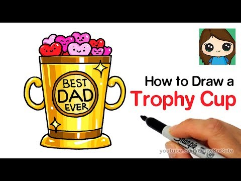 How to Draw a Trophy Cup Easy | Father's Day
