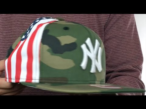 7f4932646c6 Yankees  USA FLAG-SIDE SNAPBACK  Army Hat by New Era - YouTube