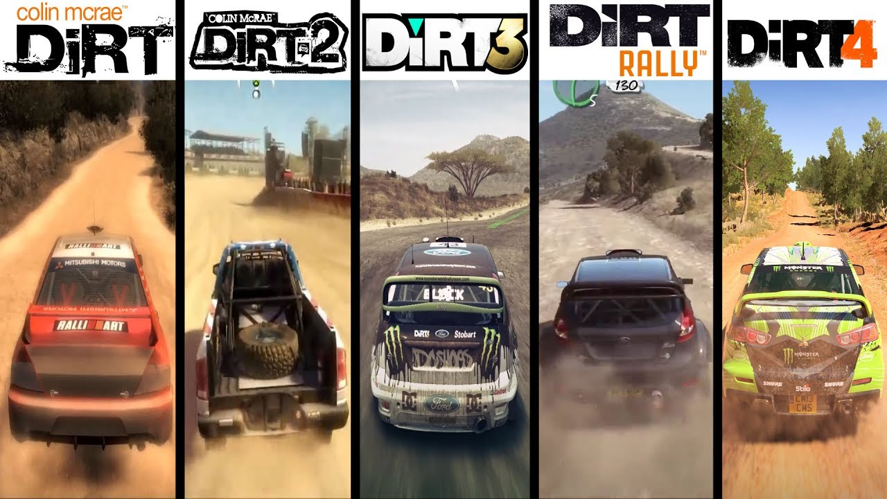 DiRT vs DiRT 2 vs DiRT 3 vs DiRT Showdown vs DiRT Rally vs DiRT 4 – Gameplay Comparasion (HD)
