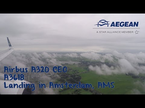 Landing in Amsterdam, Aegean Airlines flight A3618 from Athens with Airbus A320 CEO