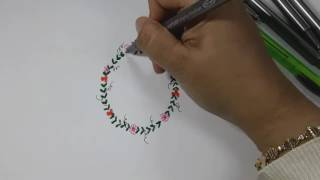 How To Draw Simple Floral Wreath