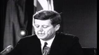 October 22, 1962, President Kennedy reports discovery of Soviet Missiles in Cuba ...HD Stock Footage