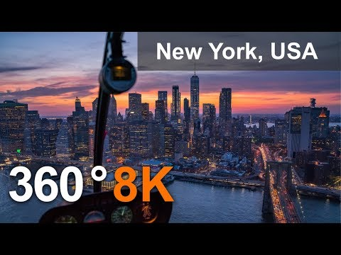 New York, USA. City of Skyscrapers. 360 8K aerial video