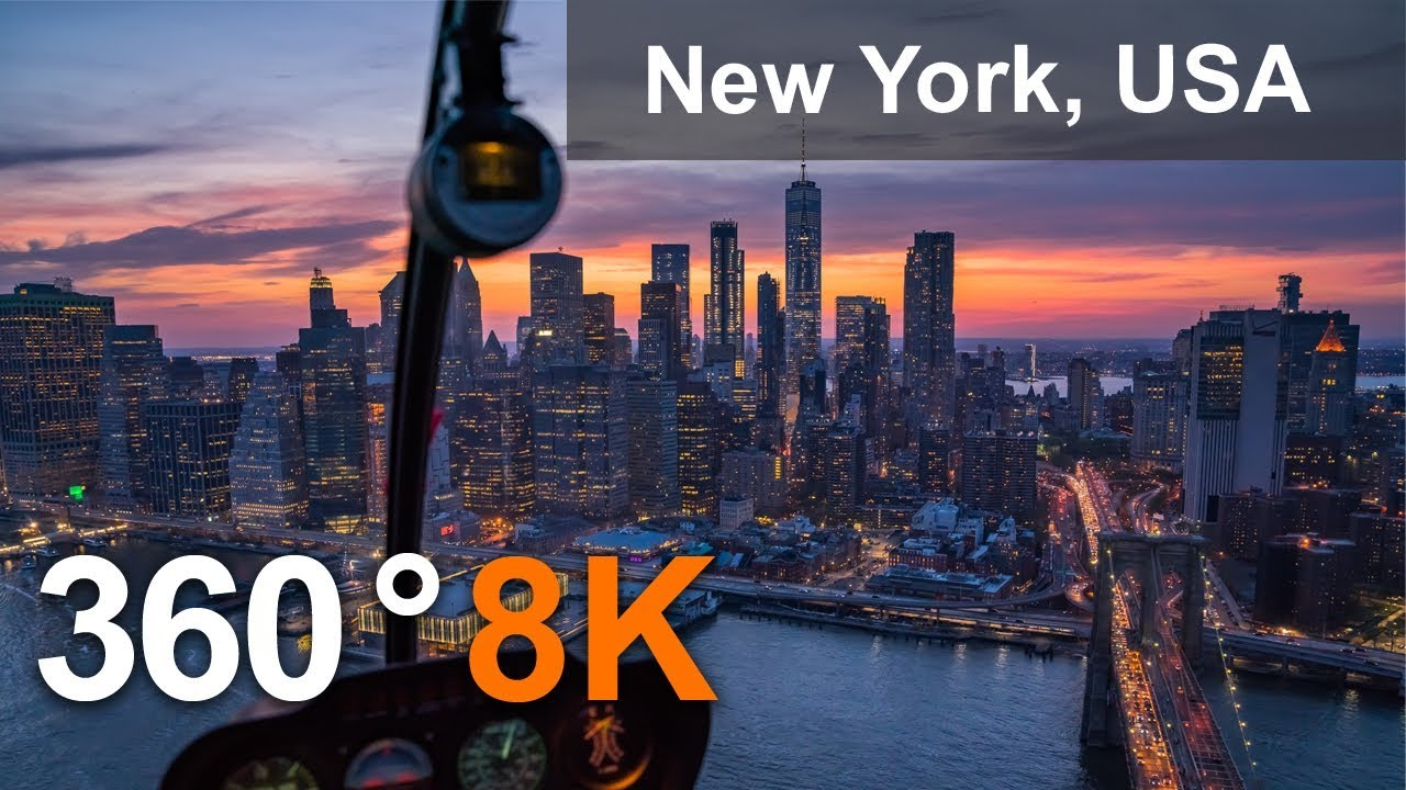 New York, USA 360 8K Aerial Video