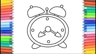 How To Draw A Alarm Clock for Kids 💙💜💖 Alarm Clock Drawing and Coloring Pages for Kids