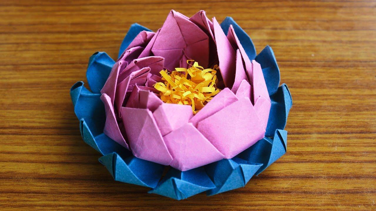 3d Origami Lotus Flower By Srujanatv Youtube