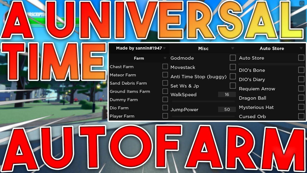 [NEW] A Universal Time Script GUI / Hack   Get All Stands   Auto Farm   *PASTEBIN 2021*