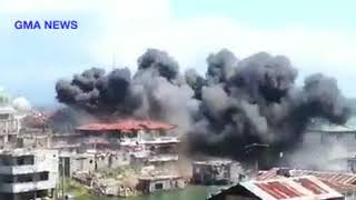 Massive Blast As An Airstrike hits a Maute/ISIS Position in Marawi