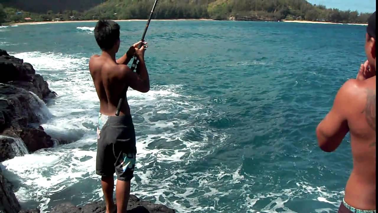 3 6 lb papio north shore kauai youtube for North shore fishing report