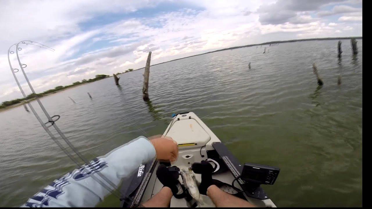 Lake benbrook kayak crappie fishing youtube for Benbrook lake fishing