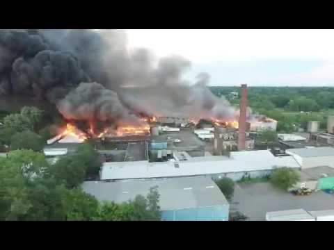 Massive fire of tire plant in Lockport, NY - Video 6