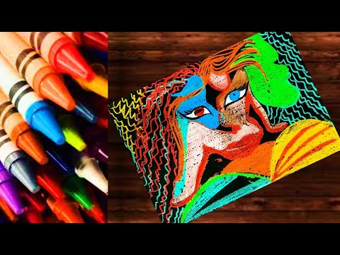 Wax colour Drawing tutorial for beginners l Wax Crayons painting | Step by step Beautiful Modern art