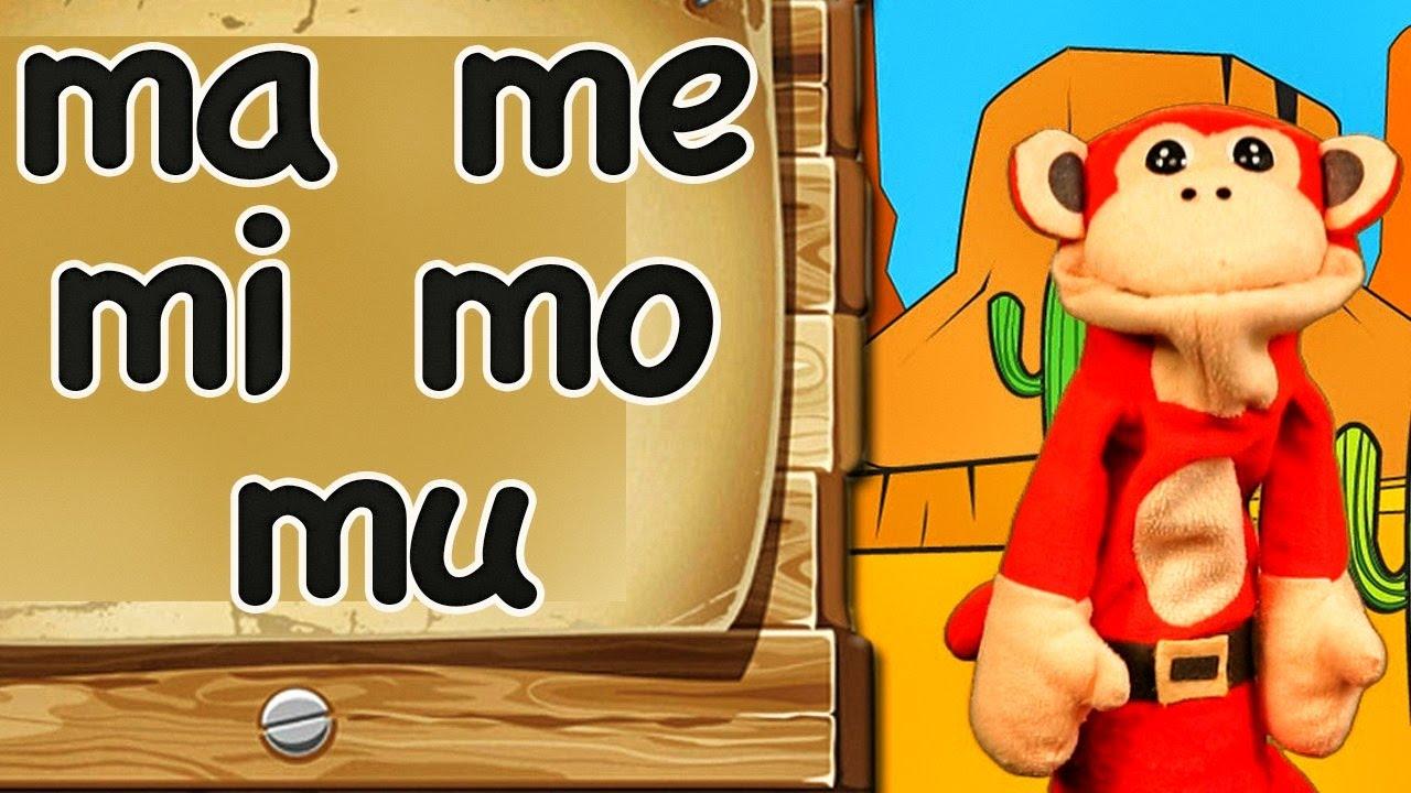 Las Sílabas ma me mi mo mu - El Mono sílabo en La Escuelita Divertida de los Niños