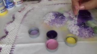 Aprenda a pintar Hortência em tecido
