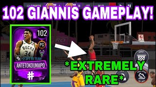 102 POINT GUARD GIANNIS ANTETOKOUNMPO GAMEPLAY IN NBA LIVE MOBILE 20!!! *EXTREMELY RARE*