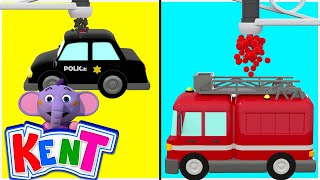 Fire Truck and Police Car for Kids | Learn Colors with Vehicles | 3D Learning Cartoons for Children