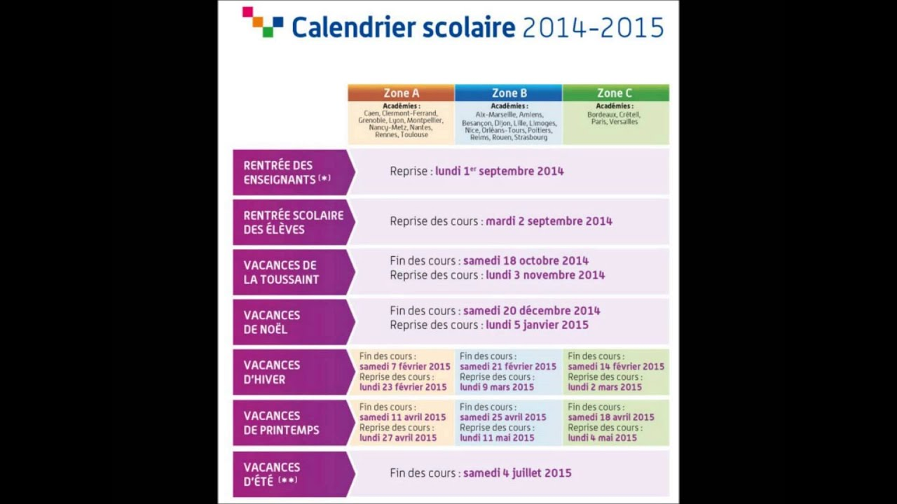 calendrier scolaire 2014 2015 rentr e des classes et vacances youtube. Black Bedroom Furniture Sets. Home Design Ideas