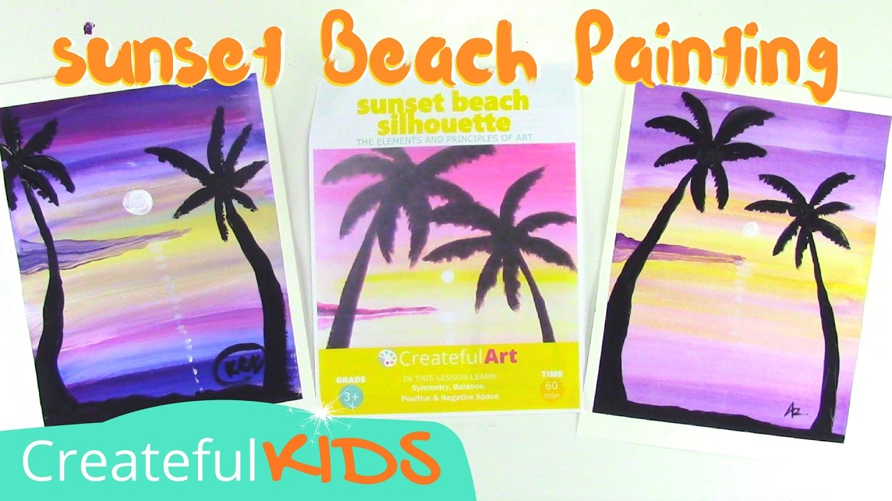 How To Paint A Sunset With Palm Trees Art Lesson For Kids Youtube