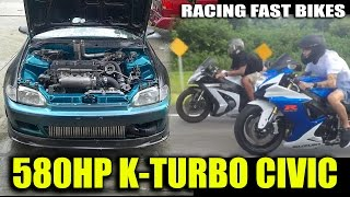 580HP K20 Civic VS GSXR 750, ZX10 BIKES, Twin-Turbo Mustang, Pro Charged Camaro - STREET RACING