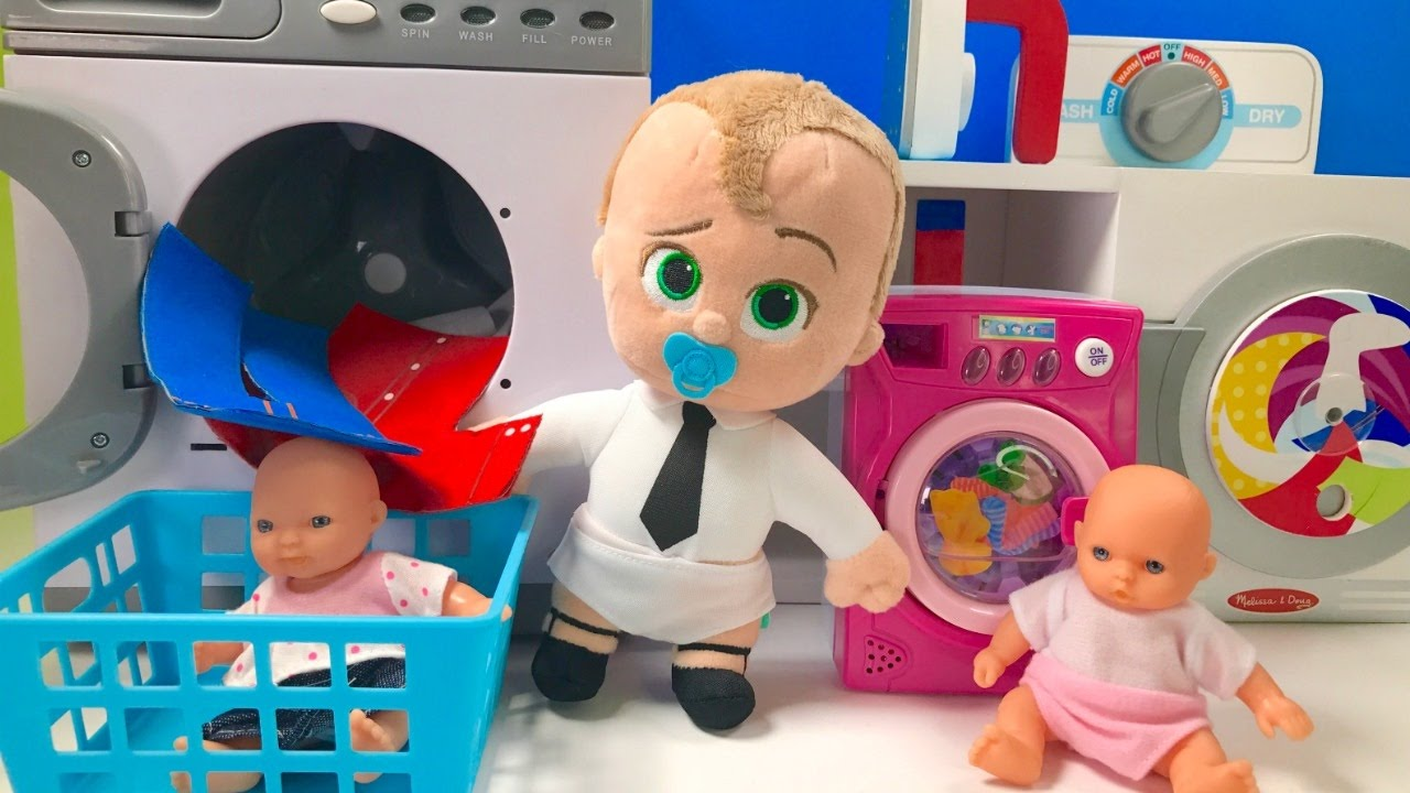 Boss Baby Doll Uses Washing Machine Dryer Toys Plays ...