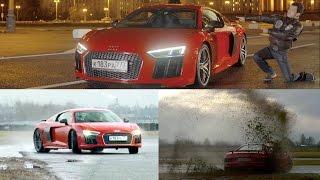 тест суперкара Audi R8 V10 plus 610 сил  стенд  0-325 км/ч  восемь R8!)