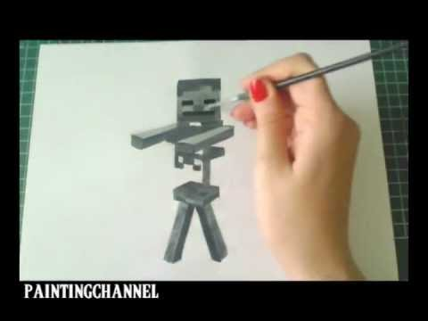 Superior How To Draw/Paint Skeleton   Minecraft