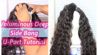 Volumious Deep Side Bang U-Part Wig Tutorial