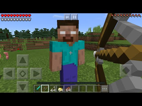 FIGHTING HEROBRINE in Minecraft Pocket Edition (Minecraft PE Herobrine Boss Battle Mod)