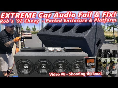 """Extreme Car Audio FAIL & Fix """"Bucket o' BASS"""" Chevy 4 12"""" Subs Ported Box & Platform DONE! Video 8"""