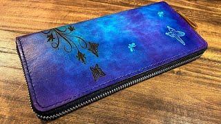 制作動画 / 蝶と花の革財布を作る【Butterfly Wallet】