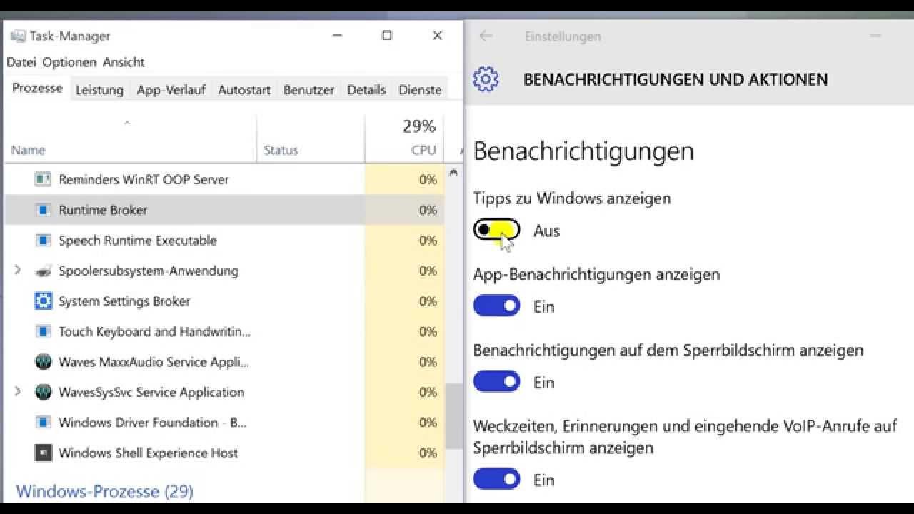 Windows 10 - Runtime Broker - hohe CPU Auslastung