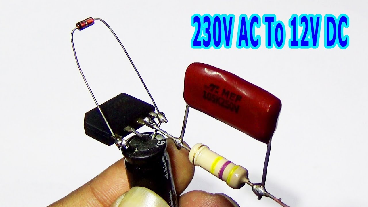 how to convert 230v ac to 12v dc without transformer (step by step)