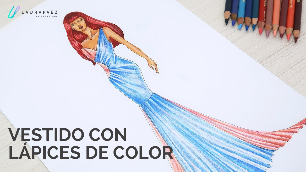 Vestido Colores Moda Tutoriales Colorear Figurines Un Con De Y LVqSUzMpG