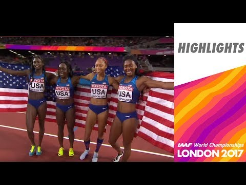 WCH London 2017 Highliths - Relay 4X100m - Women - Final - USA team wins!