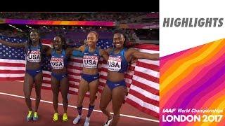 WCH London 2017 Highliths - Relay 4X100m - Women - Final - USA team wins!