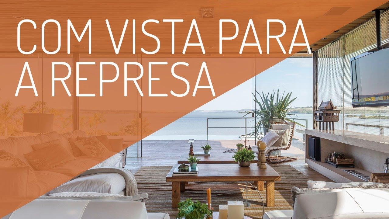 Casa de Campo para Relaxar com vista para a Represa e Decoração com Ares Praianos