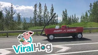 Big Red Wagon in Wasilla || ViralHog