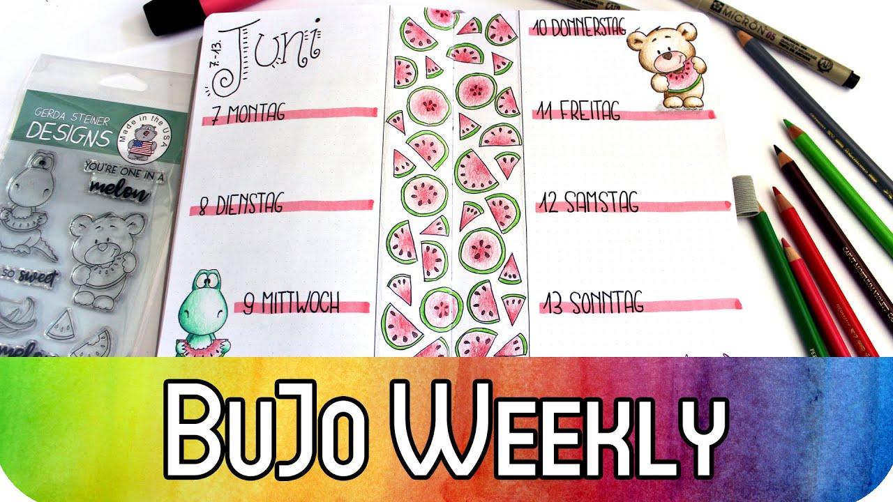 Bullet Journal Melonen Wochendekoration mit Stempel von Gerda Steiner und Doodling | BuJo Weekly