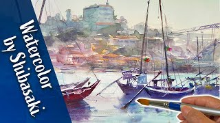 [Eng sub] Watercolor demonstration | Duero River in Portugal / sketching trip with me.