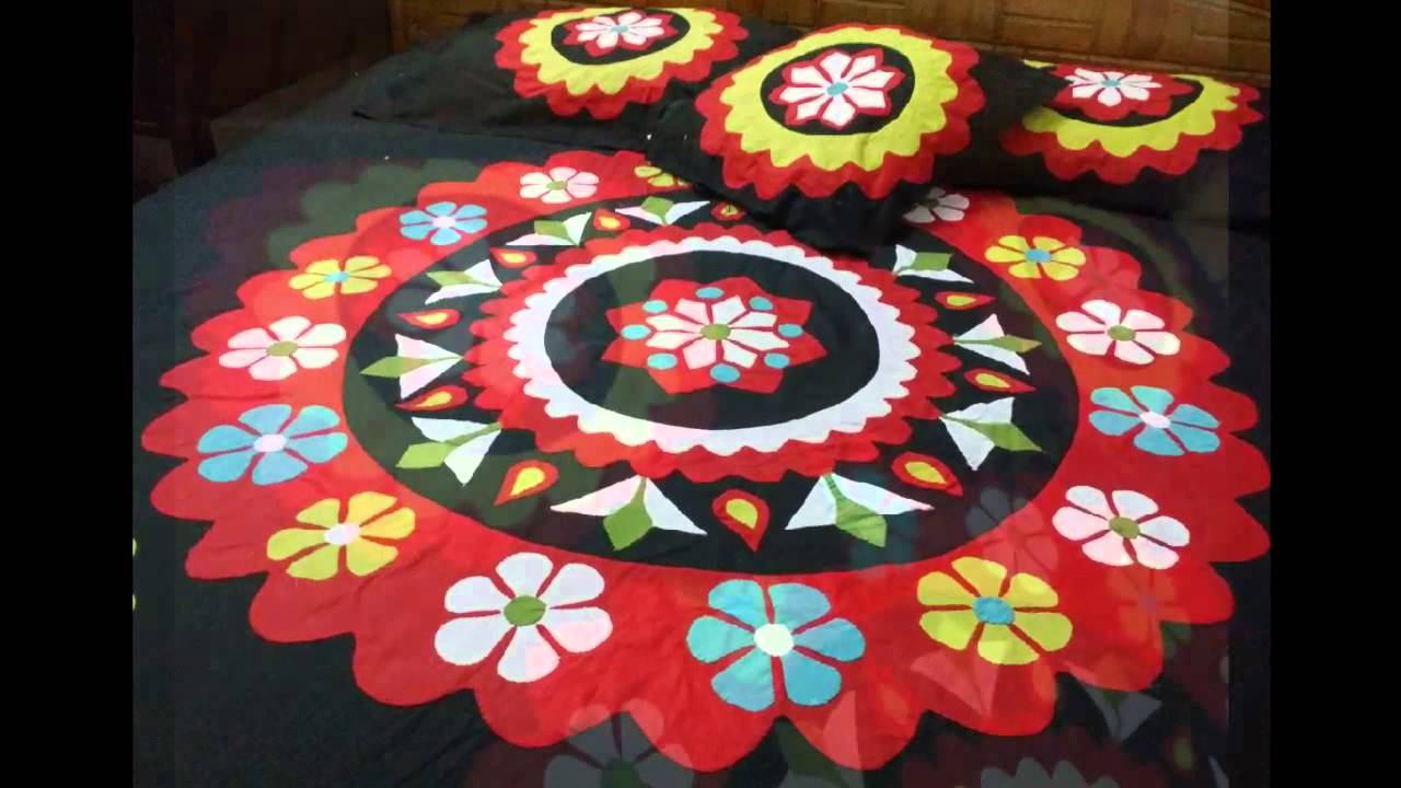 Bed sheet design patchwork - Handmade Applique Bedsheet